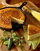Skillet Jalapeno Cornbread with Slice Removed
