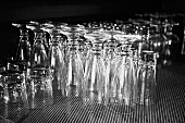 Empty glasses on counter