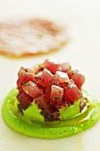 Tuna tartar with mushy peas