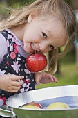 A girl bobbing for apples