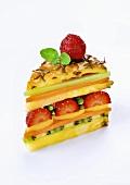 Fresh fruit arranged to look like a slice of cake