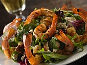Salad with Southwest Seasoned Shrimp, Pecans and Blue Cheese