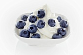 Yogurt ice cream garnished with blueberries