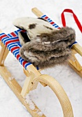Animal hide glove on a sled