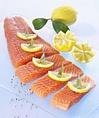 Salmon fillet with lemon slices