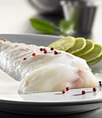 Monkfish fillet with rose pepper and limes