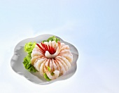 Ring of shrimp with salad garnish