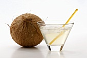 Glass of Coconut Water; Whole Coconut