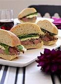 Sandwiches with steak and brie