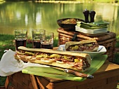 Picnic at the lake with Muffuletta (round Sicilian sesame bread) sandwiches