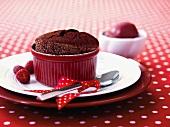 Chocolate souffle with fresh raspberries