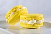 Two macaroons with vanilla cream