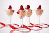 Sorbet with raspberry sauce and raspberries