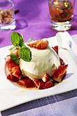 Waldmeister (woodruff) parfait with fresh strawberries