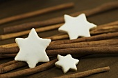 Cinnamon stars with cinnamon sticks