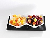 Candied fruit in bowls