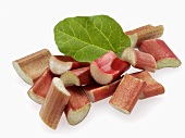 Rhubarb pieces and leaf