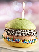 Double Decker Birthday Whoopie Pie with Three Different Flavored Cakes and Chocolate Chips