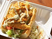 Catfish Po Boy Sandwich with Cole Slaw; In Take Out Carton