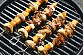 Quail Kabobs with Pineapple and Mushrooms on the Grill