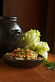 Kimchi in a bowl with fresh Chinese cabbage (Korea)