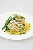 Grilled halibut with Hollandaise sauce, green beans and rice