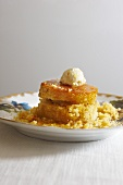 Cornbread Rounds with Honey Butter on a Plate