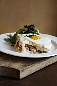 Croque Madame Sandwich; Sandwich with Fried Egg and Bechamel Sauce