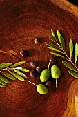 Fresh Olives on Wood