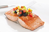 Salmon Fillet Topped with Black Bean and Corn Salsa