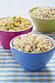 Assorted Macaroni Salads in Three Bowls