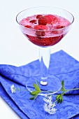 Woodruff punch with raspberry sorbet