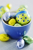 Chocolate Easter eggs in coloured foil