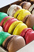 A box of colourful macaroons (detail)