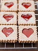 Jam biscuits with icing sugar on a wire rack