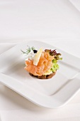 A canape with smoked salmon