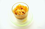 Yogurt with passion fruit and cornflakes