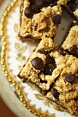 Chocolate Chip Cookie Bars on a Decorative Plate; From Above