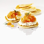 Blinis with smoked salmon and cream cheese