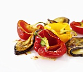 Roasted bell peppers and eggplant