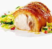 Crispy roast pork with crackling