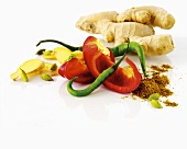 Ginger, pepper, chili pepper, curry powder