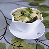 Bowl of Feta Raviolis with Kalamata Olives