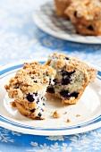 Blueberry muffin, halved
