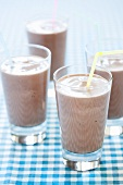 Chocolate Shakes in Glasses with Straws
