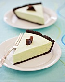 Two Slices of Grasshopper Pie (Mint Custard Pie with Chocolate Cookie Crust)