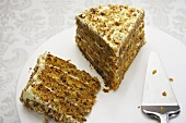 Poppy cake with butter cream and walnuts