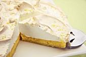 Lemon meringue tart, sliced