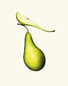 A whole pear and a slice of pear against a white background