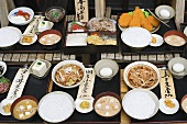 A display of Japanese food with Japanese characters